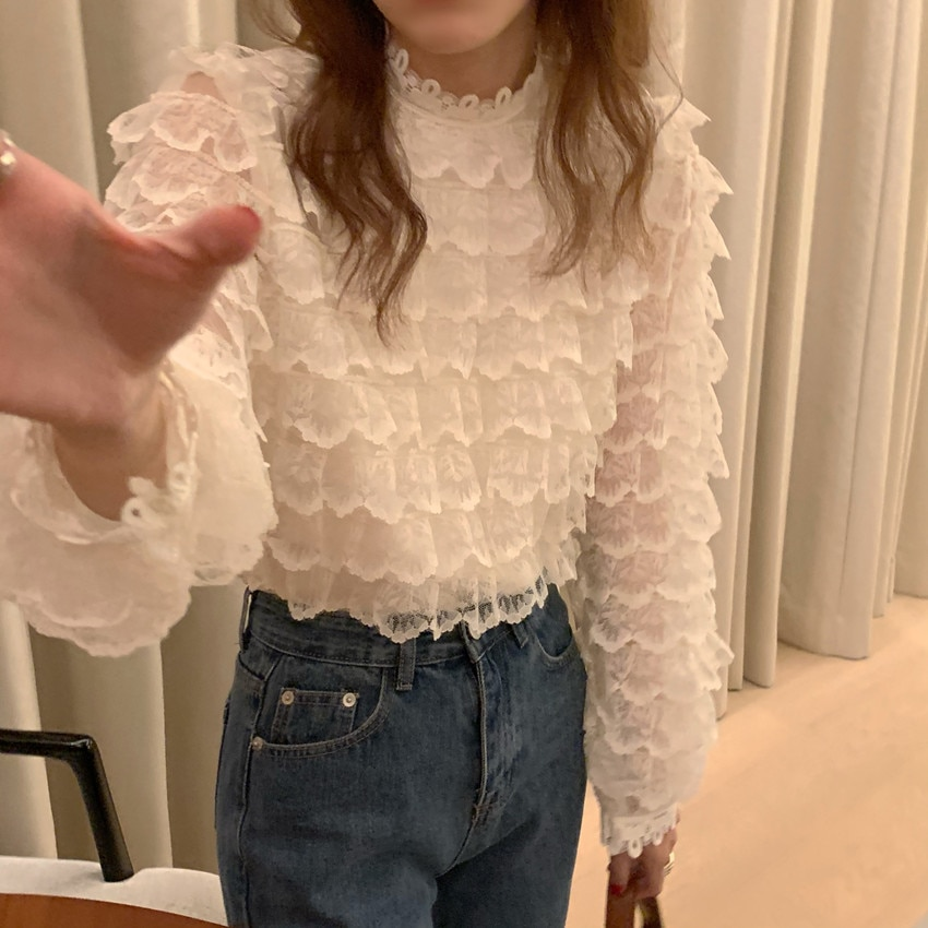 Hb5ab1c151fd94e0fb019ec58bcf0dee3Y - Spring / Autumn O-Neck Long Sleeves Hook Flowers Hollow Out Ruffles Blouse