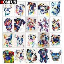 HOMFUN-Kit de bordado de diamantes 5D DIY, Kit de punto de cruz de animales coloridos, perro, decoración para el hogar