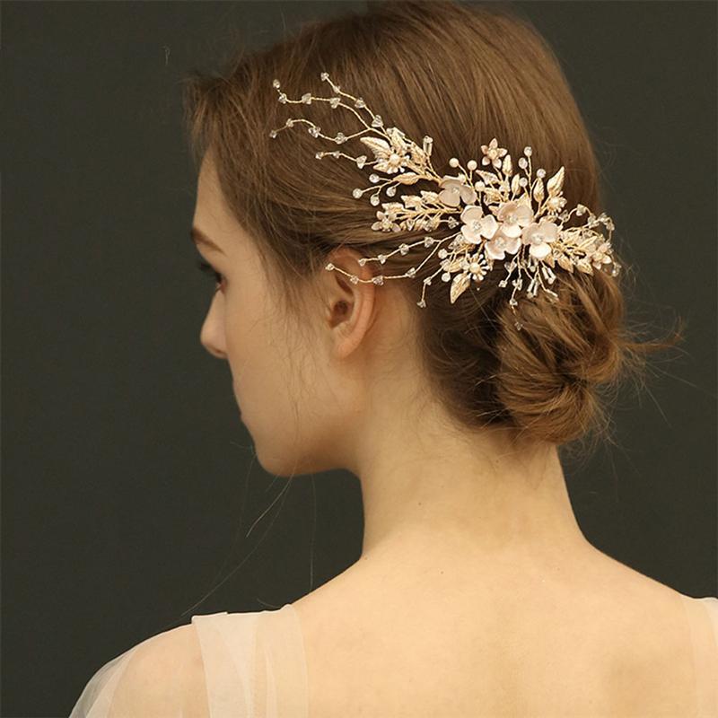 Pinos de cabelo dourado simular flor pérola hairpins delicado strass casamento headwear para noiva casamento acessórios