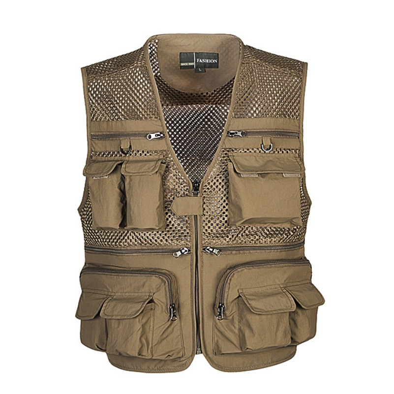 Unloading Men's Vest Tactical Webbed Gear Coat Summer Photographer Waistcoat Tool Many Pocket Mesh Work Sleeveless Jacket Male