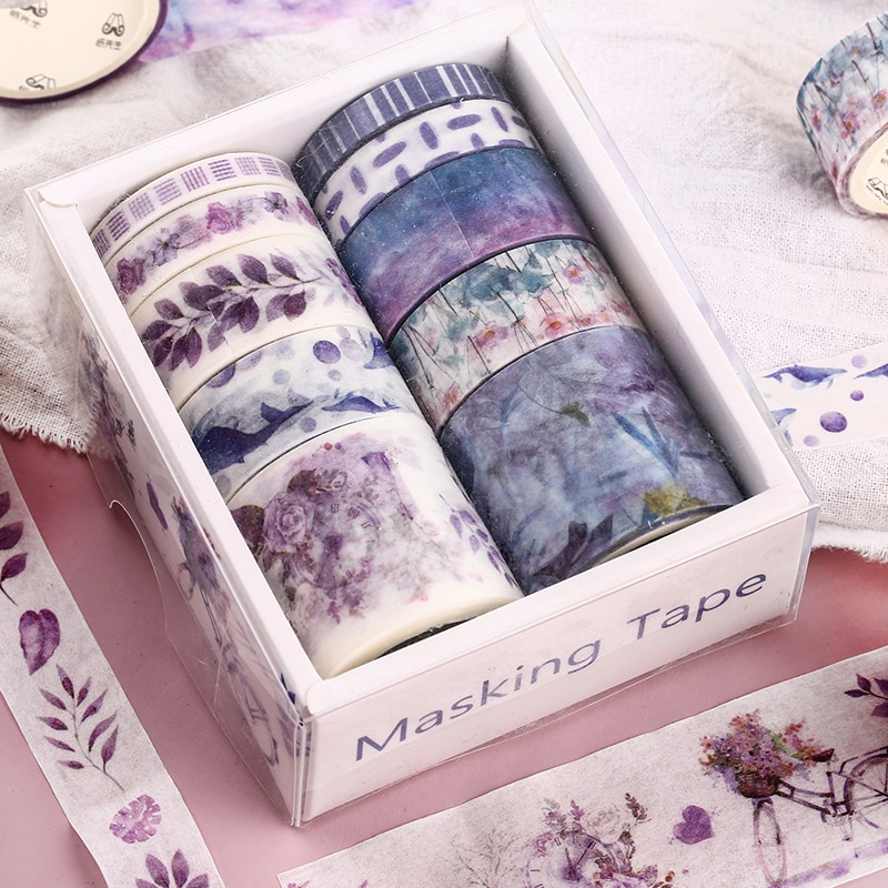 10pcs Set Japanese Washi Tapes Stickers Cute Bullet Journal Scrapbooking Stationery Kawaii Notebook Hand Account Washi  Stickers