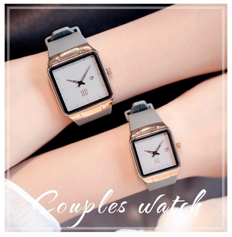 Women Watches Casual Fashion Quartz Wristwatch Square Calendar Silicone Strap Water Resistant Couple Watch Designer Reloj Mujer enlarge