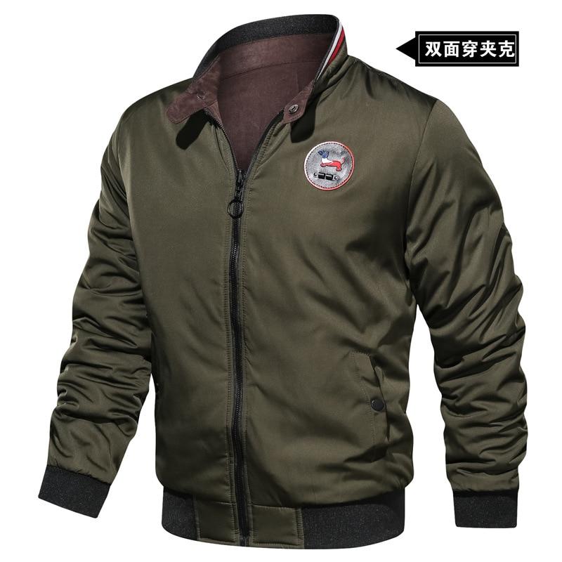 Мужская осенняя куртка, облегающая двухсторонняя мужская куртка с вышивкой, Мужская одежда, Зимняя Толстая куртка-бомбер, летная куртка-пил...
