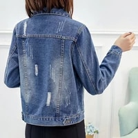 2020 new womens wear spring and autumn large size denim jacket womens slim and hole fat mm short slim and versatile denim