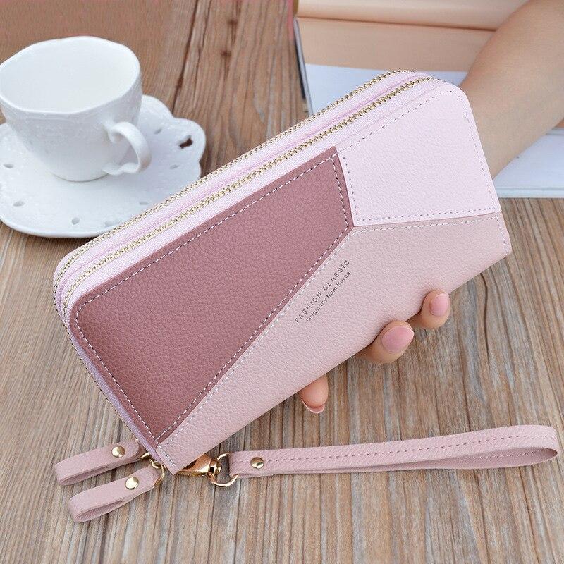 Geometric Patchwork Women's Wallet Female Long Zipper Wrist Purses Card Holder Wallets Lady Pu Leath