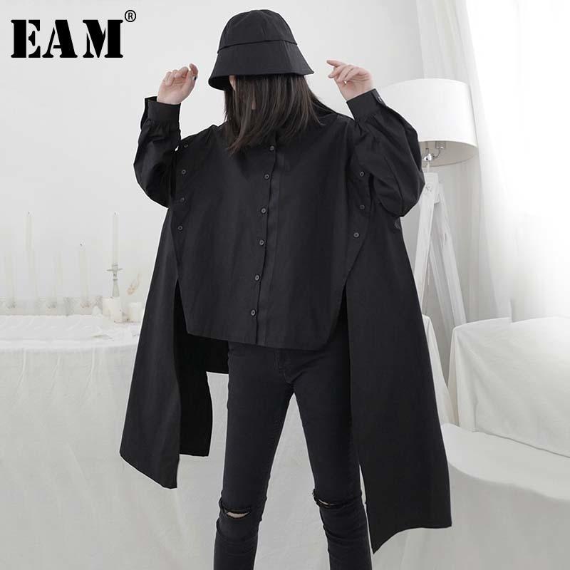 [Eam] fita feminina dividir tamanho grande blusa irregular nova lapela manga longa solto ajuste camisa moda maré primavera verão 2020 1w302