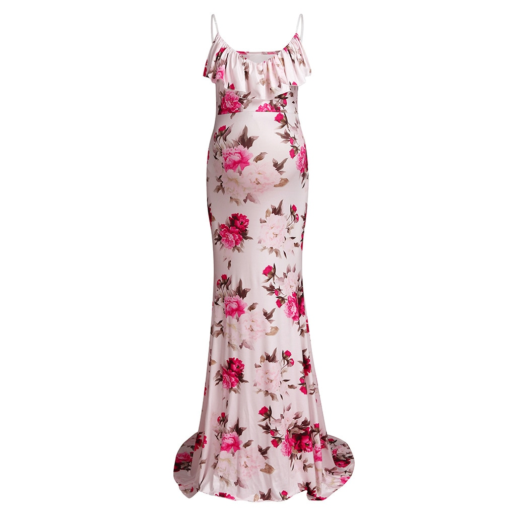 Kyle Keith Pregnant Women Floral Long Maxi Dresses Maternity Gown Photography Photo Shoot Clothes Pregnancy enlarge