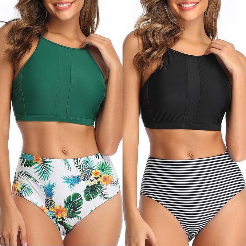 Sfit Frauen Zwei Stück Halter Bikini Set Sexy Backless Seimwear Sommer Criss Cross Crop Top Mit Hoher Taille Badeanzug Böden