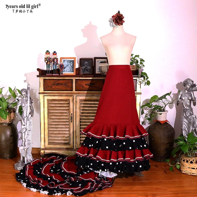 الفتيات الاسباني فستان الفلامنكو القطن المرأة قاعة الرقص الفالس أزياء رقص Foxtrot WeaCWQ14