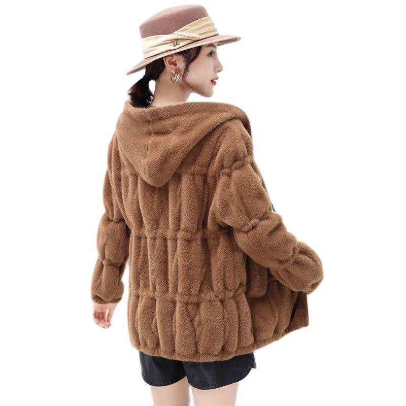 Новинка 2021, шуба из искусственного меха норки, женская зимняя куртка, модная облегающая женская верхняя одежда из искусственного меха, толс...