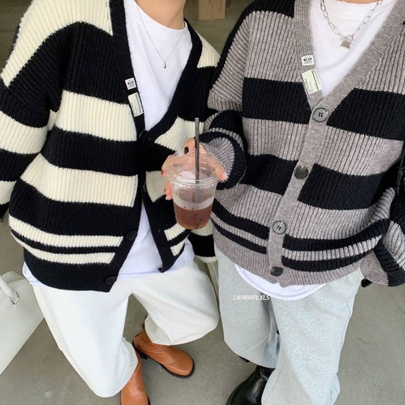 cardigans in sirdar snuggly baby crofter dk 1929 knitting pattern 2021 Knitting Stripe Contrast Color Sweater Women Casual V-Neck Collar Knitting Cardigans Winter Fashion New All-Match