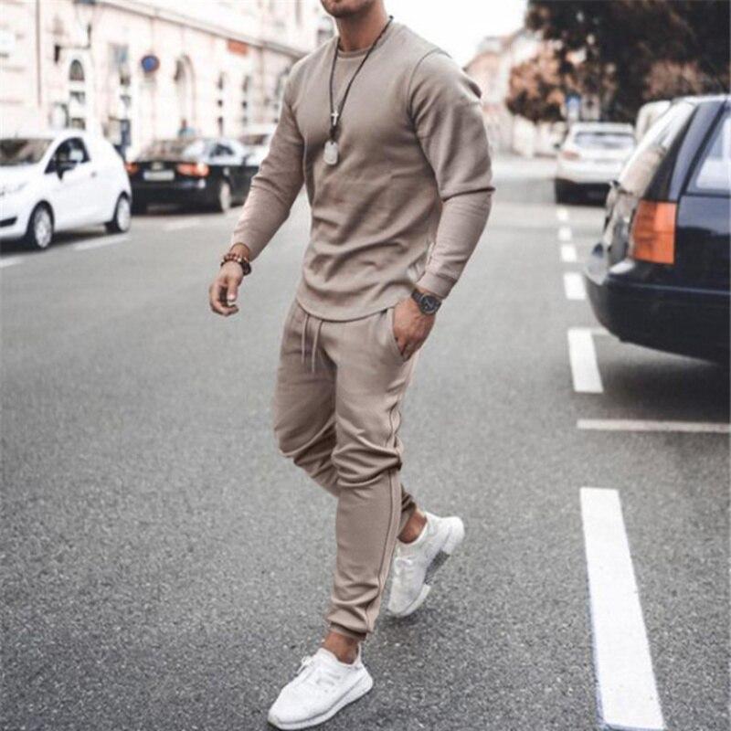 Новинка Осень 2021, мужская спортивная одежда, набор спортивных костюмов для спортзала, колготки + тренировочные штаны, повседневный спортивн...