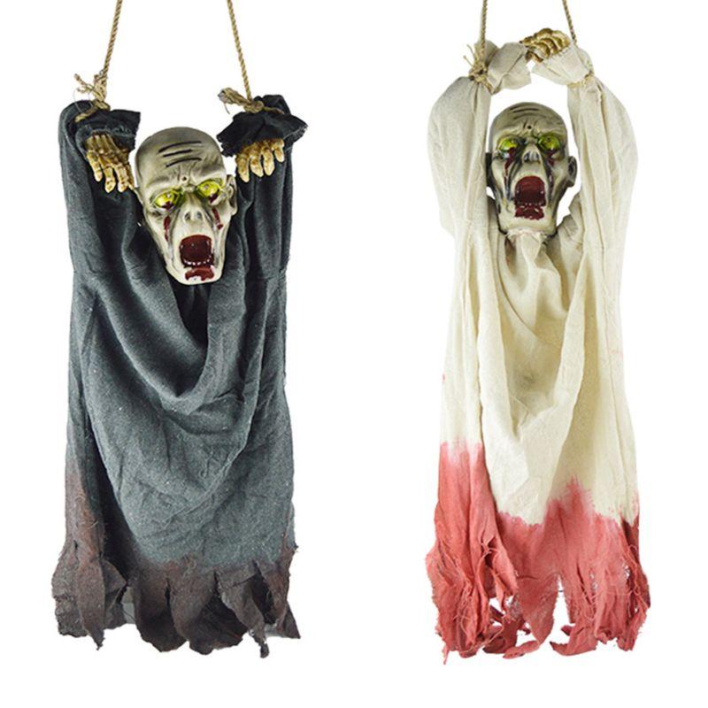 Esqueleto de terror colgante fantasma accesorio diablo eléctrico fantasma muñeca terrorífica cara accesorio espeluznante para Halloween