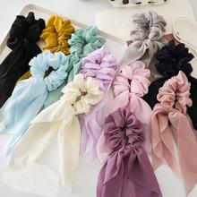 Sommer Chiffon Haar Band Schal Haar Bands Bogen Krawatten Scrunchies Pferdeschwanz Elastische Hair Seil für Frauen Haar Zubehör