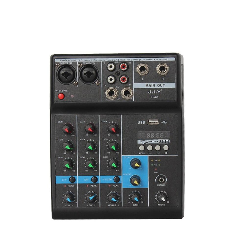 Mezclador de ordenador de casa de 4 canales, pequeño USB con tarjeta de sonido, efectos especiales, mezclador de DJ Bluetooth, comercio electrónico cruzado
