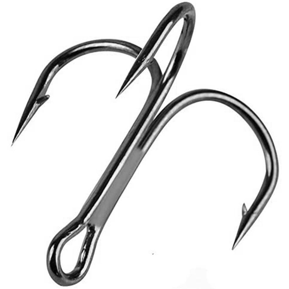 Fishing Hook High Carbon Steel Treble Overturned Hooks Fishing Tackle Round Bend Treble For Bass 100PCS 2#4#6#8#10#12#Black