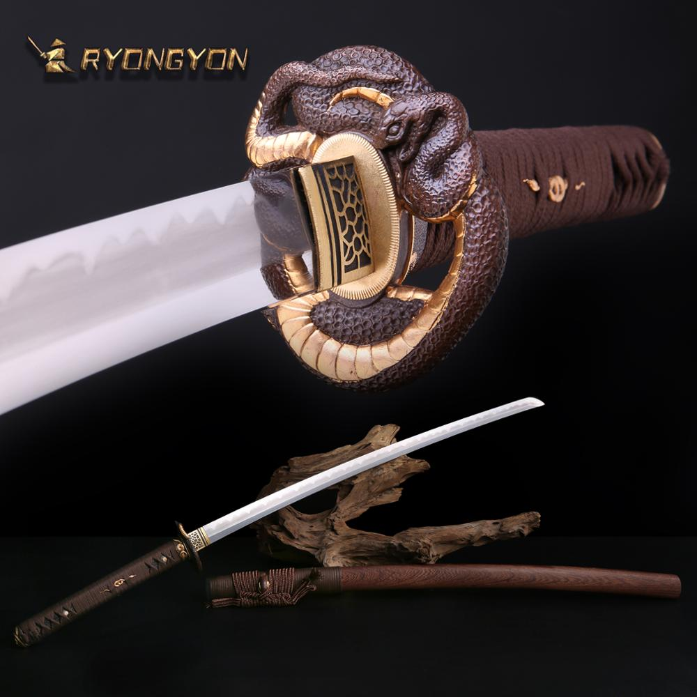 Hecho a mano Katana espada Real afilada espada Samurai Ninja Japón espada T10 completo de acero Tang arcilla templada mano rompiendo hoja 623