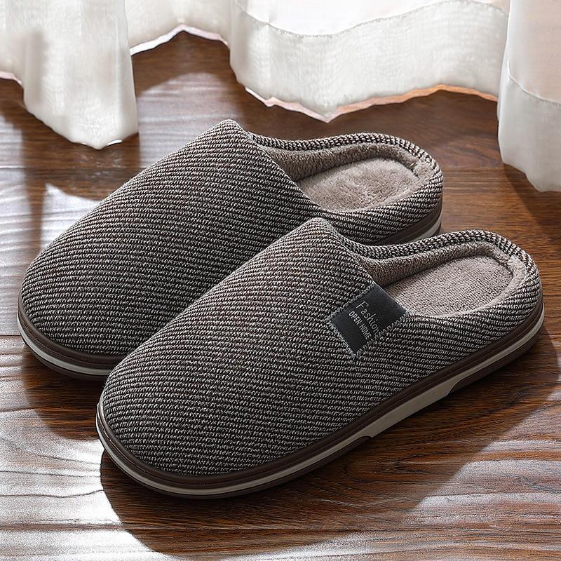 Men's Slippers Memory foam Slippers for home 2020 Winter Non Slip Male House Shoes Stripe Unisex Indoor plus size 11-12