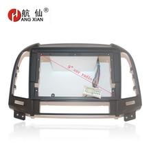 HANGXIAN 2Din cadre de garniture de lautoradio   Cadre pour Hyundai Santa Fe 2006-2012 voiture DVD gps, Kit de panneau de tableau de bord, cadre de garniture