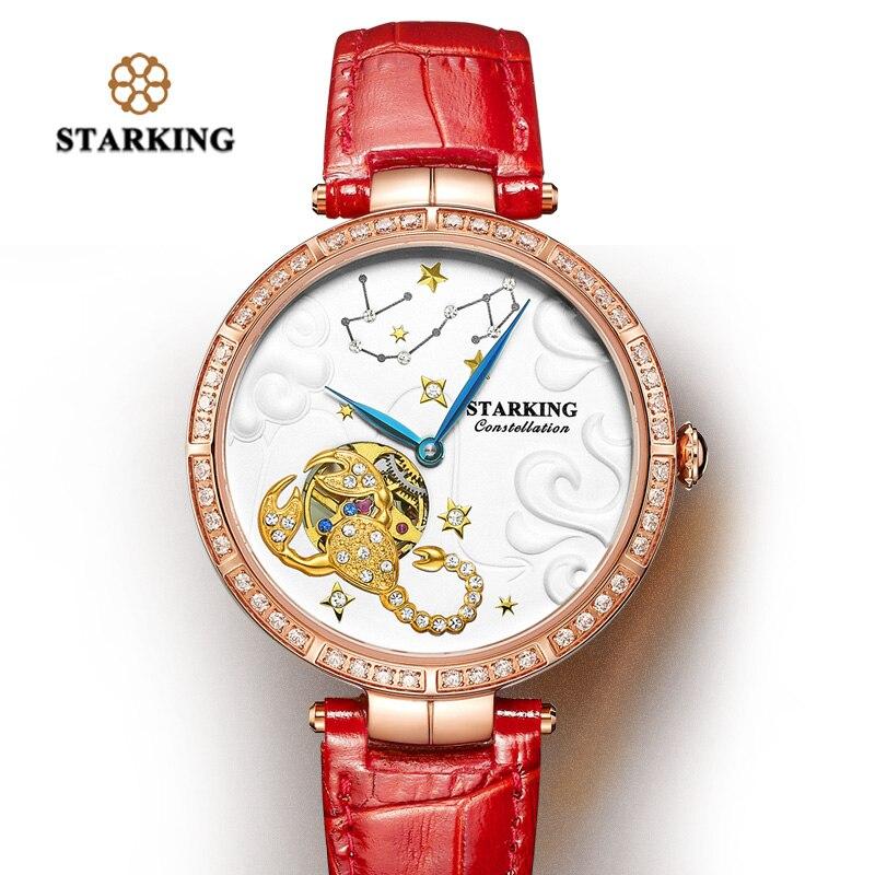 STARKING Women Watch Brand Luxury Leather Scorpio Constellation Ladies crown Watch Fashion Casual Simple Wristwatch Clock Women enlarge