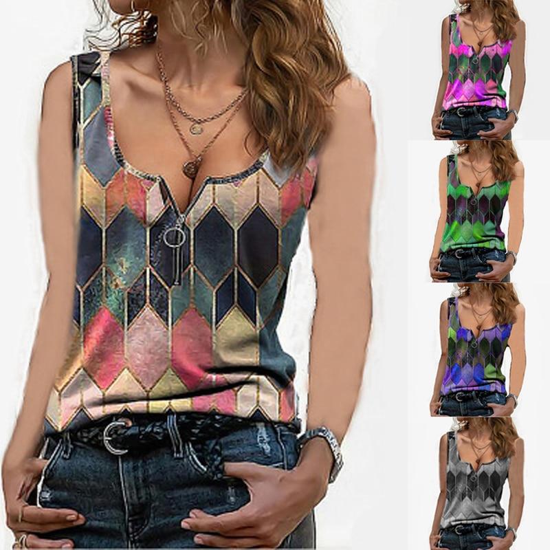Женская винтажная блузка без рукавов, Повседневная летняя блузка с геометрическим принтом и круглым вырезом на молнии Майки      АлиЭкспресс
