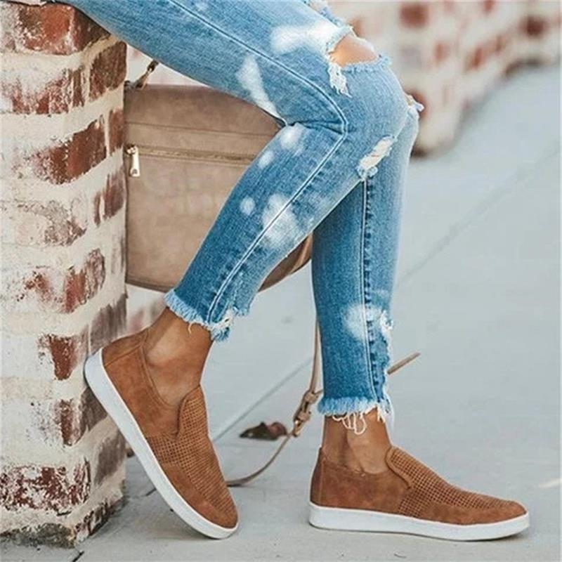 AliExpress - 2021 New Women's Shoes Fashion Solid Color Imitation Suede Round Toe Flat-heel Hollow Breathable Comfortable Casual Shoes 7KG193