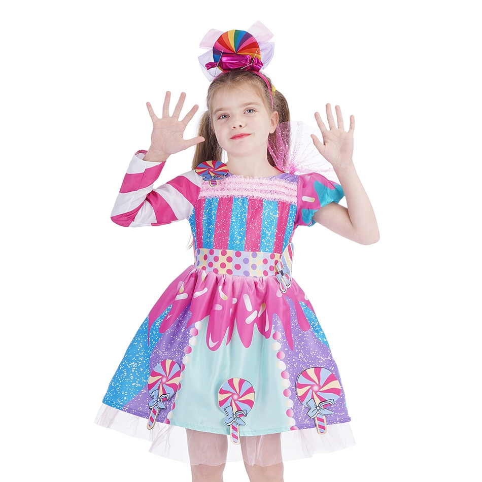 aliexpress - 2021 New Fashion Baby Girl Candy Dress Kids Halloween Party Costume Colorful Ball Gown 2-12 Year Children Clothing