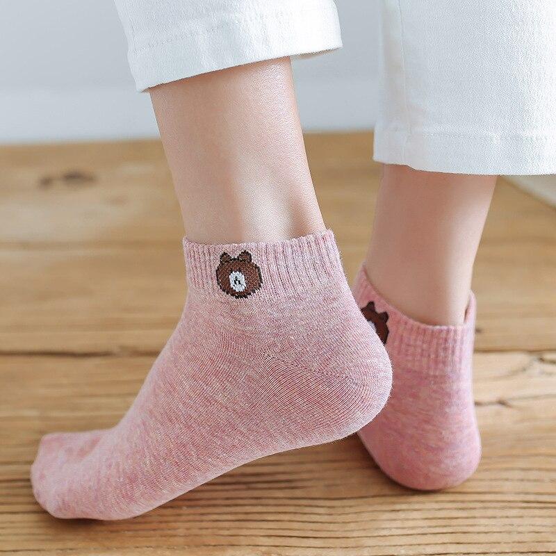 2020 oso calcetines cortos señoras ankel calcetines harajuku kawaii mujer casual calcetines de dibujos animados verano algodón bordado mujeres Calcetines