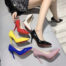 2021 New Women Yellow Blue 10cm High Heels PU Leather Female Scarpins Office Pointed Toe Tacons Pump