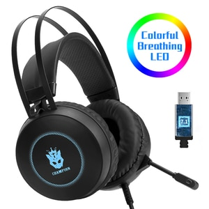 7.1 Stereo LED Gaming Headset For Laptop, Over Ear Wired Gamer Headphone with Microphone PC Computer Phone Tablet Helmet