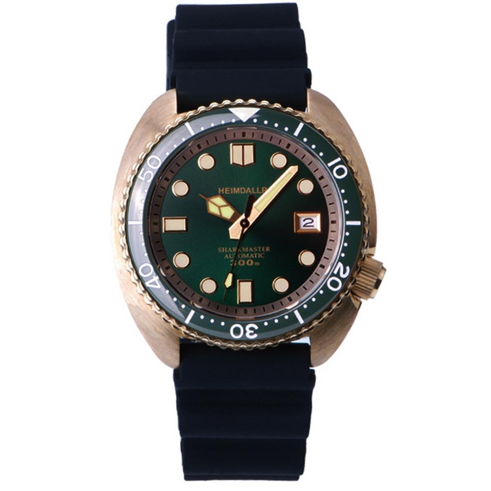 Reloj de pulsera para hombre, relojes automáticos de buceo para hombre HEIMDALLR sport bronce reloj de pulsera mecánico de viento propio 300m impermeable luminoso