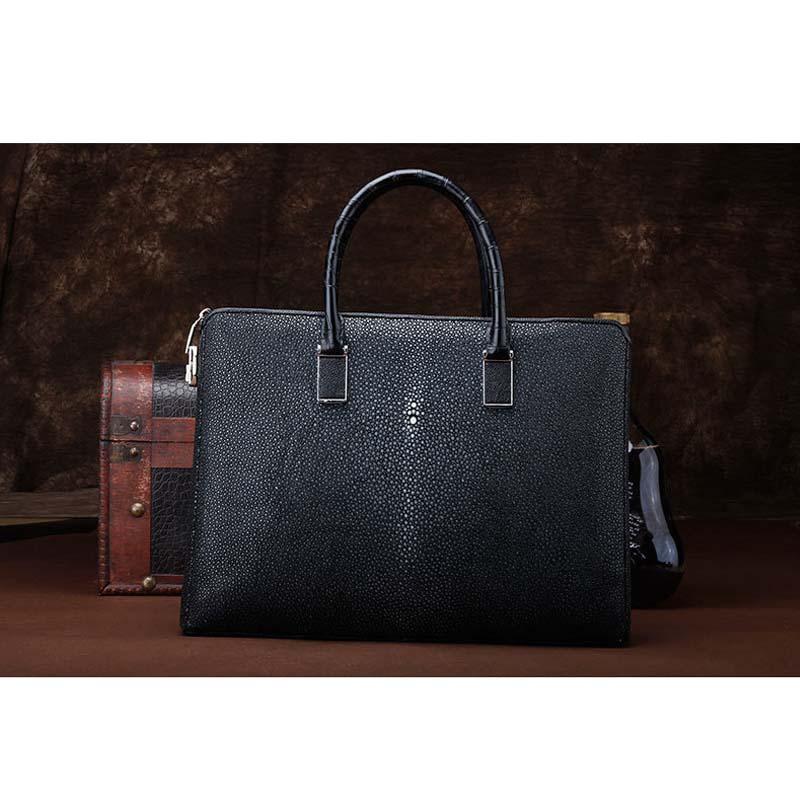 ourui new  selling  Pearl fish skin  male men briefcase  black  Genuine stingray skin Men's handbags