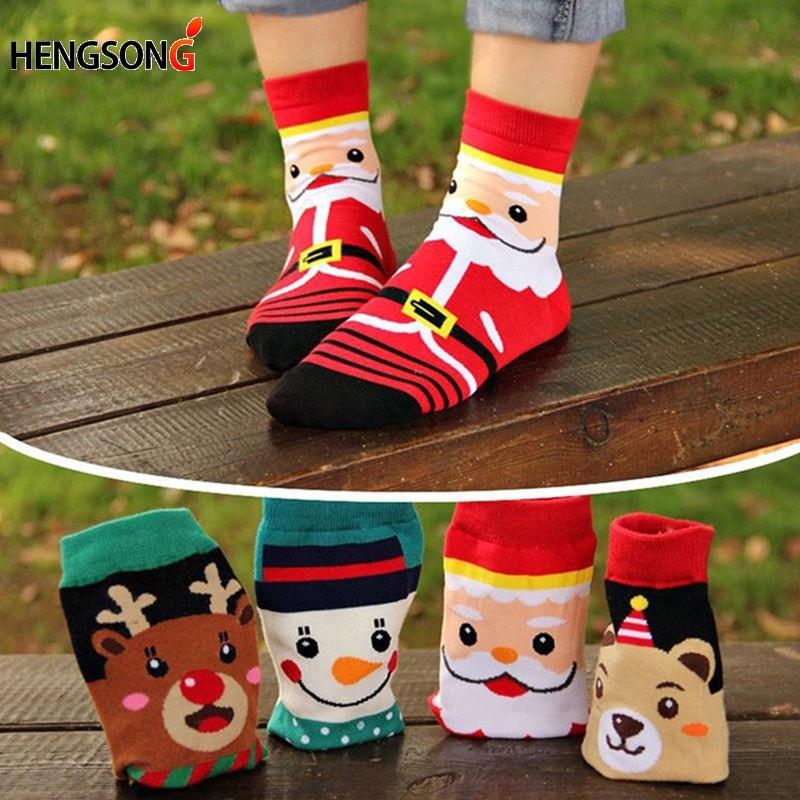 4 Pairs/Pack New Hot Women Cartoon Socks Autumn Winter Womens 3D Funny Soks Lady And Girl Christmas Cotton Dress Sock