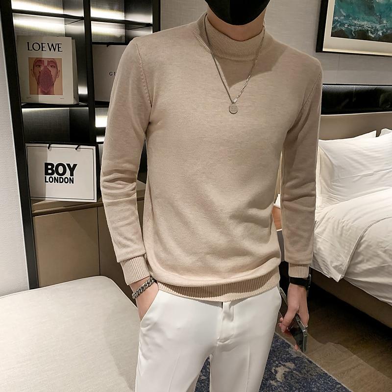 Новинка, Зимняя Толстая Мужская водолазка, Повседневная водолазка, однотонный качественный теплый пуловер с воротником-стойкой для мужчин
