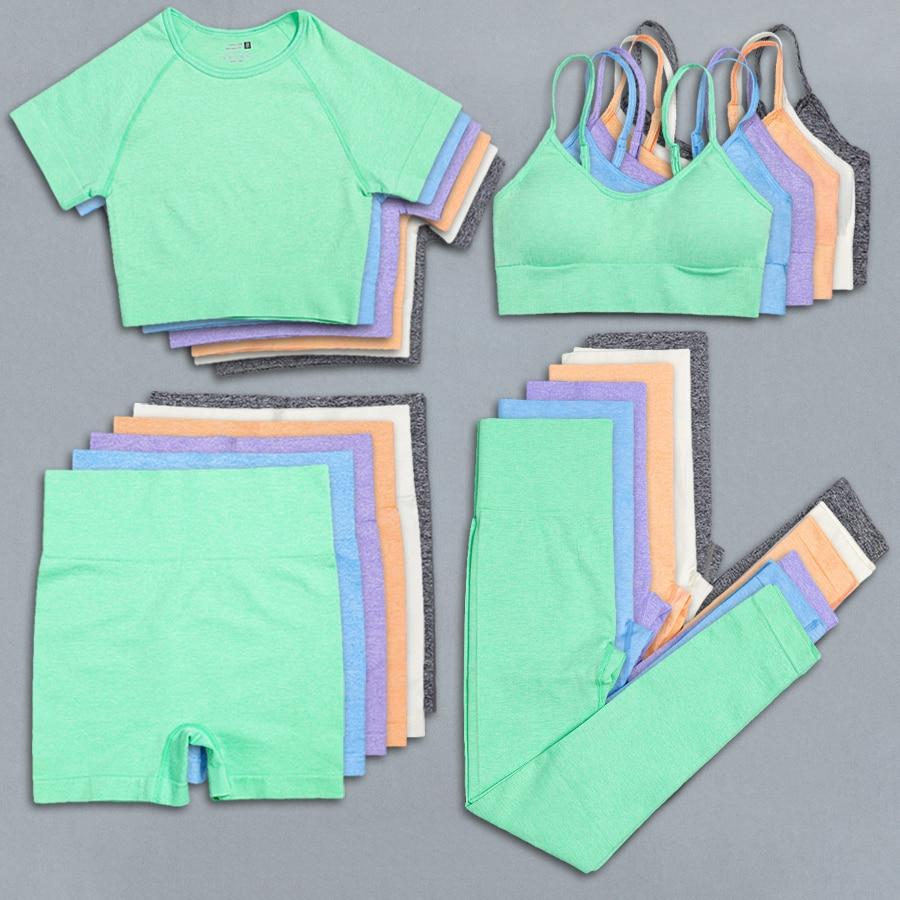 AliExpress - Seamless Fitness Shorts Set Women's Tracksuit Summer Shorts Suit Gym Sport Bra High Waist Yoga leggings Short Tights Crop Top