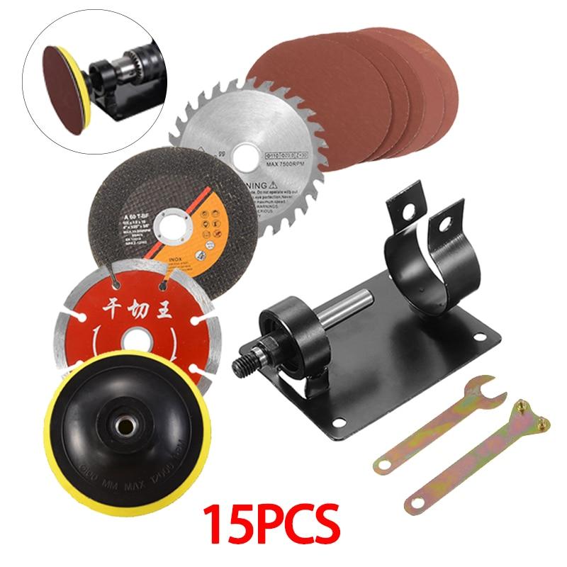 15pcs/Set Hand Drill Cutting Grinding Seat Stand Holder Set Machine Bracket Polish Pad Wrench Set
