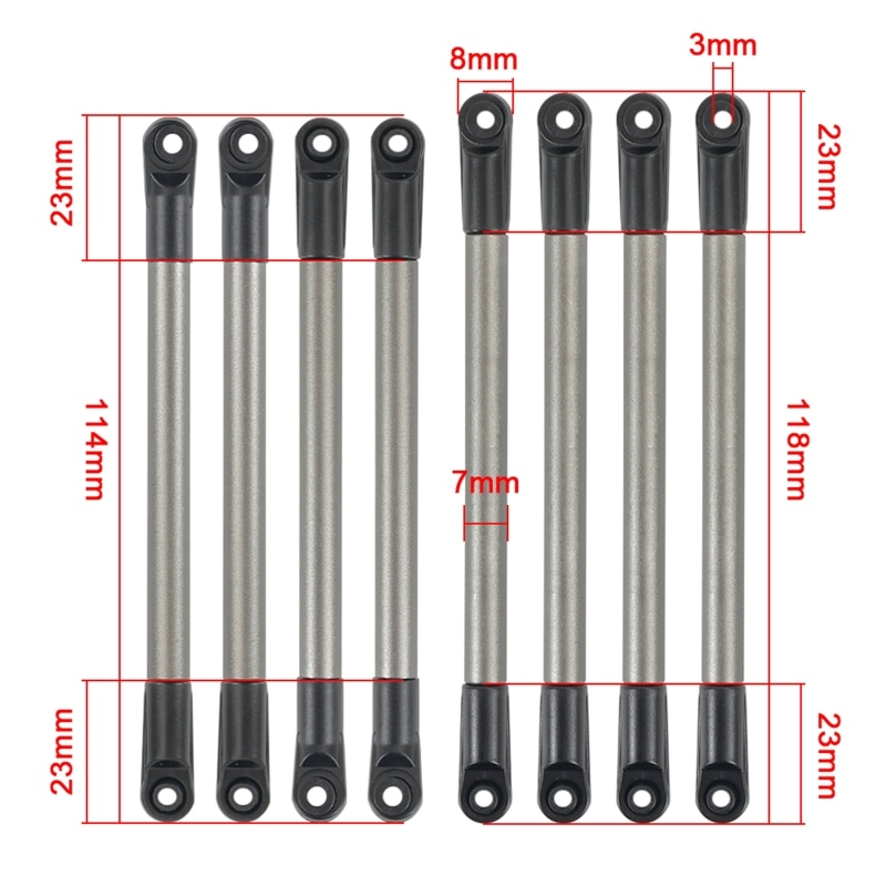 8Pcs Simulation 275mm Wheelbase Metal Link Bar Tie Pull Rod Kit for 1/10 RC Car B36E enlarge