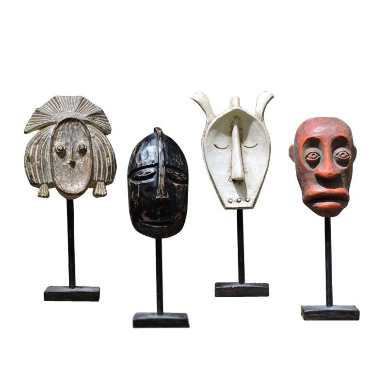 Máscara TRIBAL primitiva africana, escultura de personaje con estatua para hombre, figura moderna nórdica de café, BAR, tienda de ropa, decoración artesanal