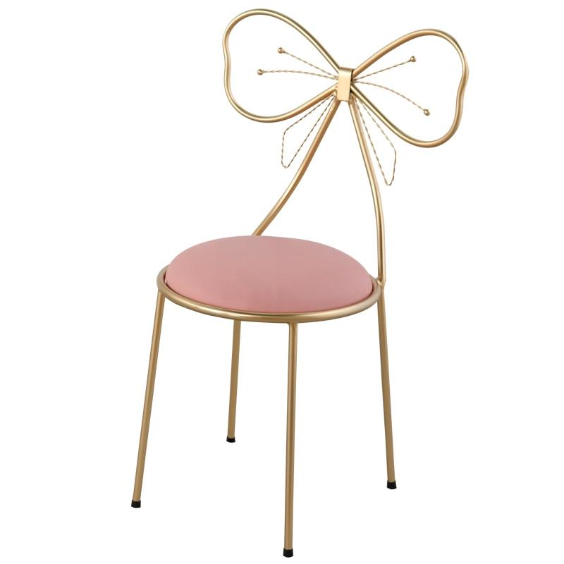 H1 taburete de maquillaje dormitorio moderno minimalista arco silla pequeña ins niña corazón princesa taburete de tocador Silla de Metal dorado barato