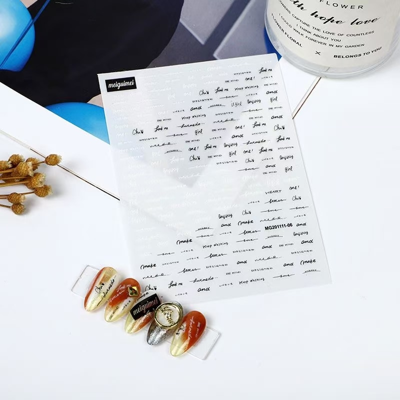 3D Nail Sticker Feather and English Letter Design DIY Tips Nail Art Decoration Packaging Self-adhesive Transfer Decal Slider