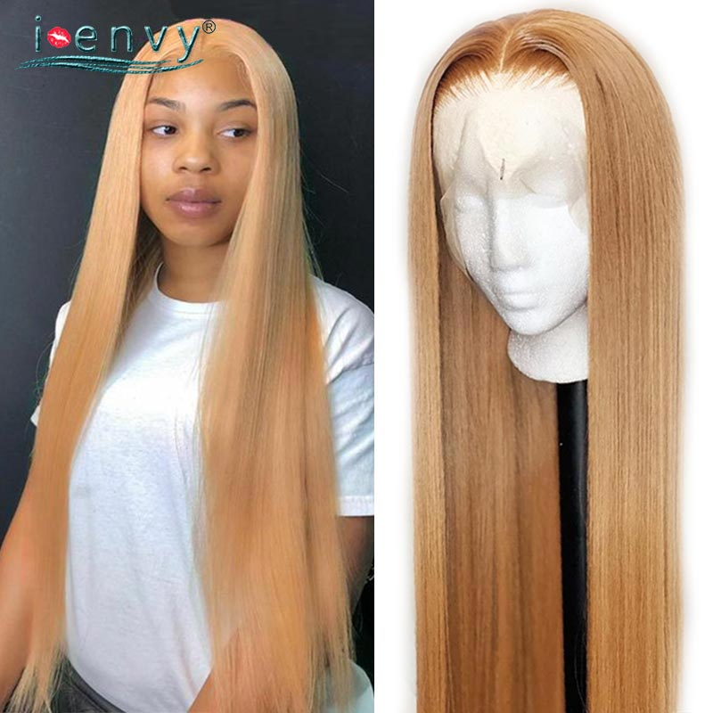 Honey Blonde Lace Front Wigs Straight Human Hair Transparent Lace Wigs Blonde Colored Lace Front Wig Peruvian 13*1 Lace Wig Remy