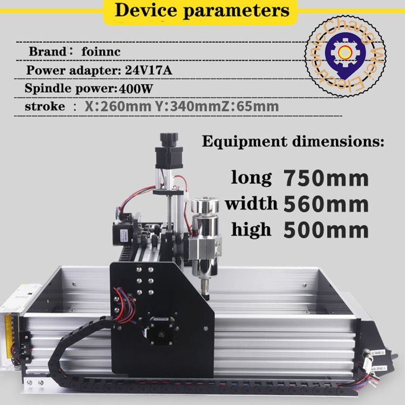 Hot!2634 CNC engraving machine chip polishing pcb desktop DIY relief nema17,400W high-power cold air spindle。