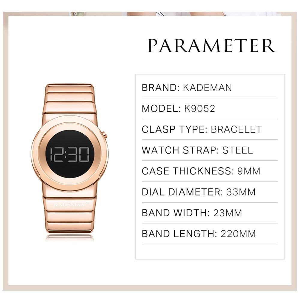 KADEMAN Ladies Watches Luxury Full Steel Women Wristwatches 3ATM Waterproof LED Digital Watch New Fashion Bracelet Casual Clocks enlarge