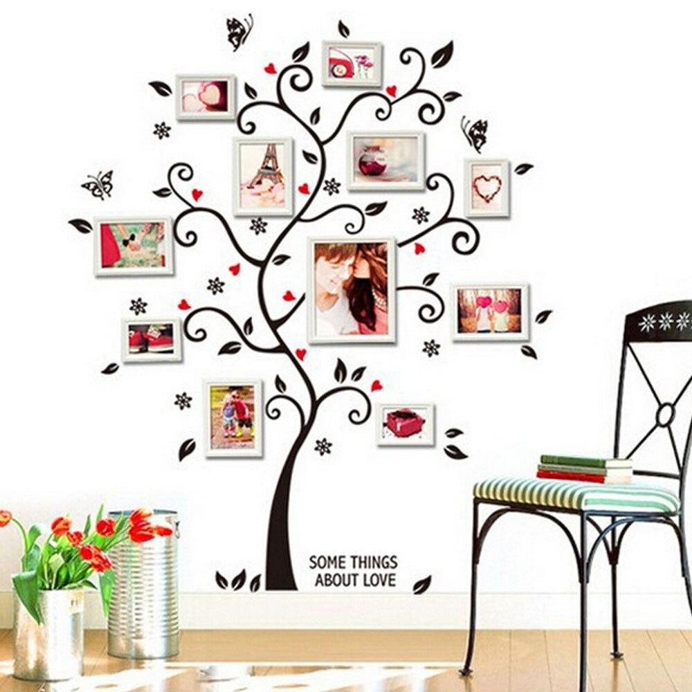 PC pegatinas de pared de árbol marco vinilo vivero pegatinas de habitación para el hogar Decoración estética árbol prontado papel pintado # LR2