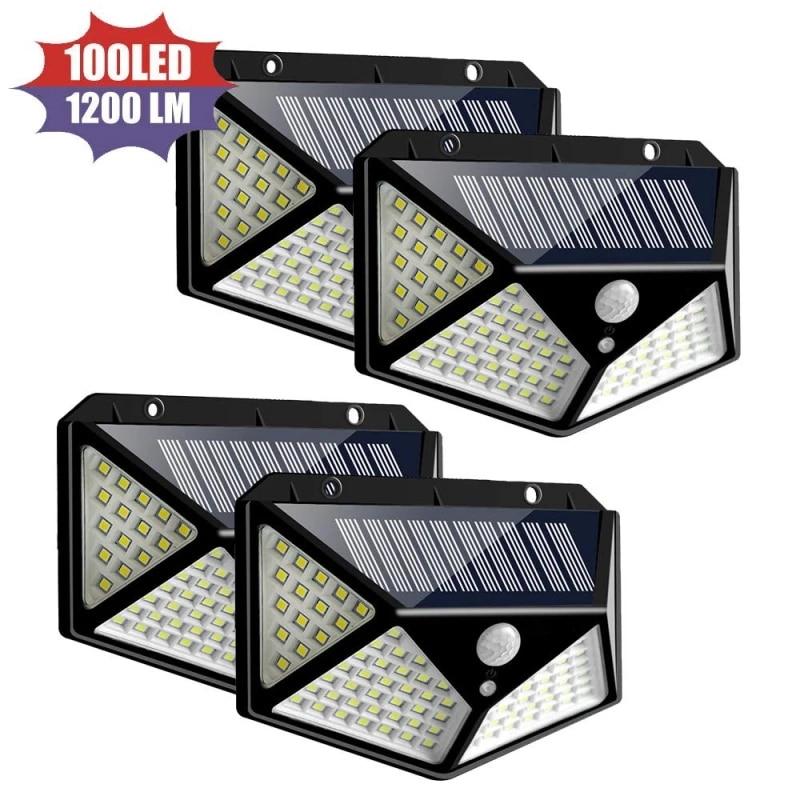 100 LED solar light motion sensor wall lamp IP65 waterproof outdoor lighting emergency lamp for garden porch dropshipping
