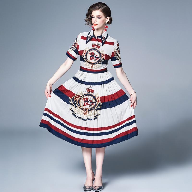 4XL المرأة الصيف مطوي فساتين العلامة التجارية بدوره إلى أسفل طوق قصيرة الأكمام عالية الخصر فستان Vintage الساخن رقيقة هرع طباعة قميص فستان