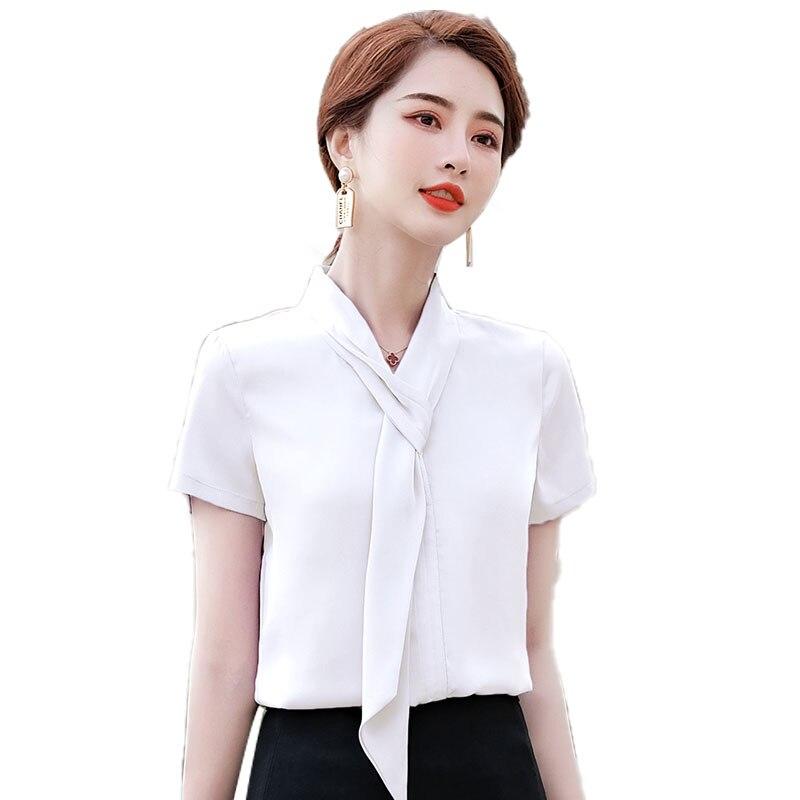 White Chiffon Shirt Women's Short Sleeve 2021 New Spring and Summer Tops Design Minority Fashion Sat