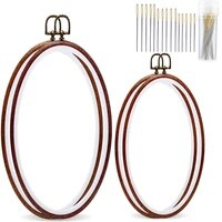 lmdz 4 pack oval embroidery hoop imitated wood display frame with 30 pieces embroidery needles embroidery frame