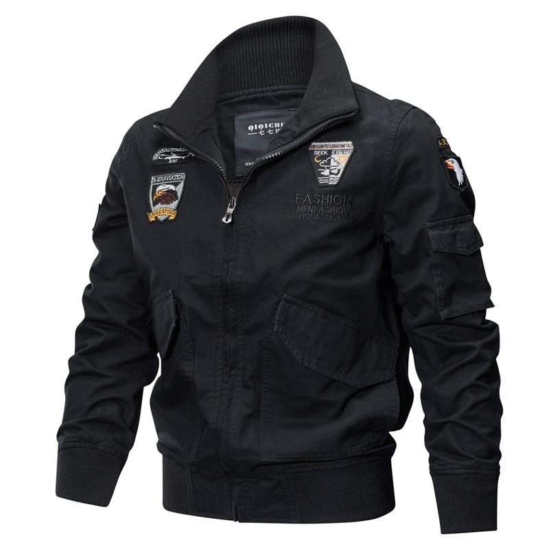 Мужская хлопковая куртка в стиле милитари, приталенная куртка-пилот в стиле милитари, армейский пилот, армейский пиджак-карго в стиле милит...