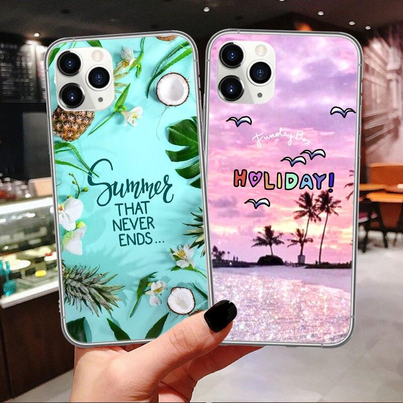 Funda de teléfono de dibujos animados de playa de verano Hello Cool para iPhone 11 Pro Max XR X XS Max 7 8 6 Plus, funda suave para iPhone 11
